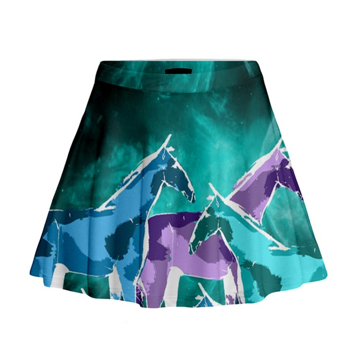 Horses under a galaxy Mini Flare Skirt