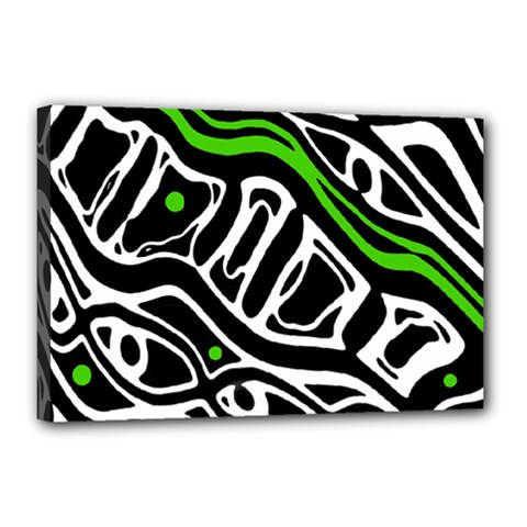 Green, Black And White Abstract Art Canvas 18  X 12  by Valentinaart