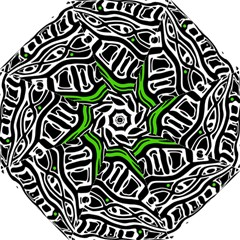 Green, Black And White Abstract Art Golf Umbrellas by Valentinaart