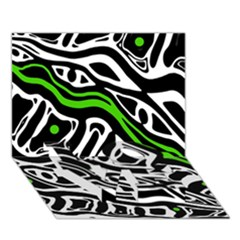 Green, Black And White Abstract Art Love Bottom 3d Greeting Card (7x5) by Valentinaart