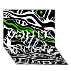 Green, Black And White Abstract Art You Are Invited 3d Greeting Card (7x5)