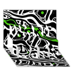 Green, Black And White Abstract Art Work Hard 3d Greeting Card (7x5) by Valentinaart