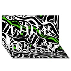 Green, Black And White Abstract Art Laugh Live Love 3d Greeting Card (8x4) by Valentinaart