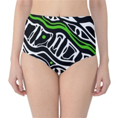 Green, Black And White Abstract Art High Waist Bikini Bottoms