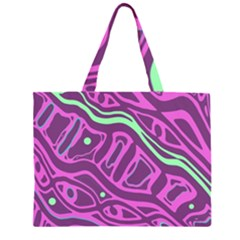 Purple And Green Abstract Art Zipper Large Tote Bag by Valentinaart