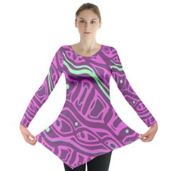 Purple And Green Abstract Art Long Sleeve Tunic  by Valentinaart