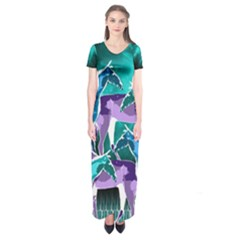 Horses Under A Galaxy Short Sleeve Maxi Dress