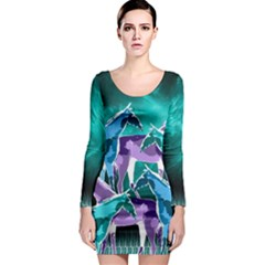 Horses Under A Galaxy Long Sleeve Bodycon Dress