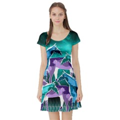 Horses Under A Galaxy Short Sleeve Skater Dress