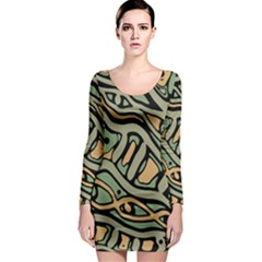 Green abstract art Long Sleeve Bodycon Dress