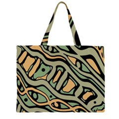 Green Abstract Art Zipper Large Tote Bag by Valentinaart