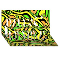 Yellow, Green And Oragne Abstract Art Happy Birthday 3d Greeting Card (8x4) by Valentinaart