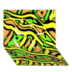 Yellow, Green And Oragne Abstract Art Clover 3d Greeting Card (7x5) by Valentinaart