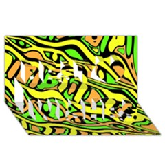 Yellow, green and oragne abstract art Best Wish 3D Greeting Card (8x4)