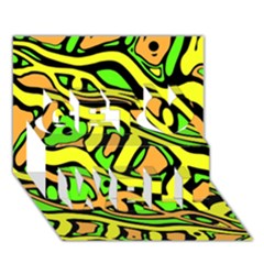 Yellow, Green And Oragne Abstract Art Get Well 3d Greeting Card (7x5) by Valentinaart