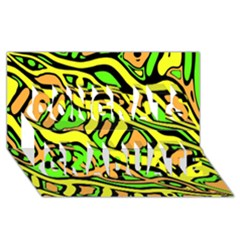 Yellow, Green And Oragne Abstract Art Congrats Graduate 3d Greeting Card (8x4) by Valentinaart