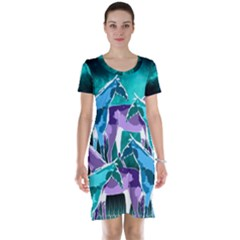 Horses Under A Galaxy Short Sleeve Nightdress