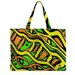 Yellow, Green And Oragne Abstract Art Zipper Mini Tote Bag by Valentinaart