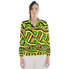 Yellow, green and oragne abstract art Wind Breaker (Women) by Valentinaart
