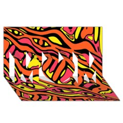 Orange Hot Abstract Art Mom 3d Greeting Card (8x4) by Valentinaart
