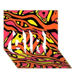 Orange Hot Abstract Art Girl 3d Greeting Card (7x5) by Valentinaart
