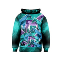 Horses Under A Galaxy Kids  Pullover Hoodie