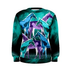 Horses Under A Galaxy Women s Sweatshirt