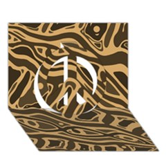 Brown Abstract Art Peace Sign 3d Greeting Card (7x5)
