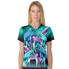 Horses Under A Galaxy Women s V Neck Sport Mesh Tee