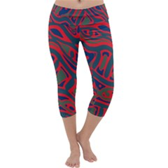 Red And Green Abstract Art Capri Yoga Leggings by Valentinaart