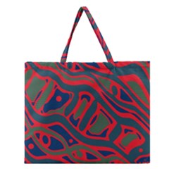 Red And Green Abstract Art Zipper Large Tote Bag by Valentinaart
