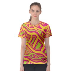 Orange hot abstract art Women s Sport Mesh Tee