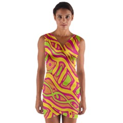 Orange hot abstract art Wrap Front Bodycon Dress by Valentinaart