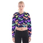 Colorful High Heels Pattern Women s Cropped Sweatshirt
