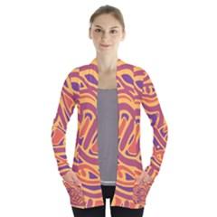 Orange Decorative Abstract Art Women s Open Front Pockets Cardigan(p194) by Valentinaart