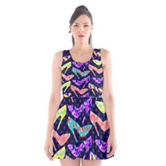 Colorful High Heels Pattern Scoop Neck Skater Dress
