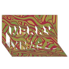 Brown Abstract Art Merry Xmas 3d Greeting Card (8x4) by Valentinaart