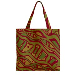 Brown Abstract Art Zipper Grocery Tote Bag by Valentinaart