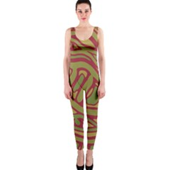 Brown Abstract Art Onepiece Catsuit by Valentinaart