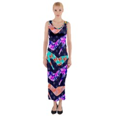 Colorful High Heels Pattern Fitted Maxi Dress