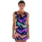 Colorful High Heels Pattern Wrap Front Bodycon Dress