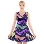 Colorful High Heels Pattern V-Neck Sleeveless Dress