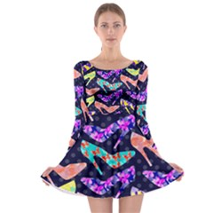 Colorful High Heels Pattern Long Sleeve Skater Dress by DanaeStudio