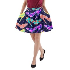 Colorful High Heels Pattern A Line Pocket Skirt