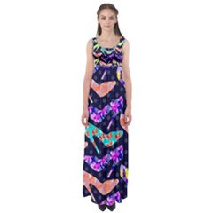 Colorful High Heels Pattern Empire Waist Maxi Dress