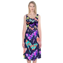 Colorful High Heels Pattern Midi Sleeveless Dress by DanaeStudio