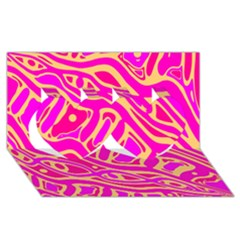 Pink Abstract Art Twin Hearts 3d Greeting Card (8x4) by Valentinaart