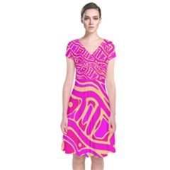 Pink Abstract Art Short Sleeve Front Wrap Dress