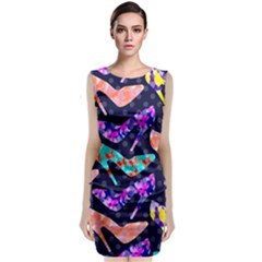 Colorful High Heels Pattern Classic Sleeveless Midi Dress