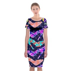 Colorful High Heels Pattern Classic Short Sleeve Midi Dress